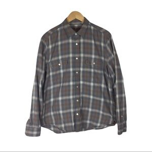 7 For All Mankind brown and gray plaid shirt